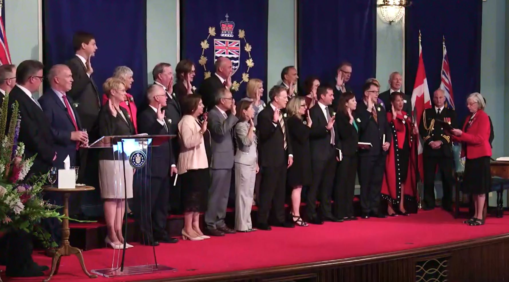 The new BC NDP cabinet being sworn in by Lieutenant Governor Judith Guichon (John Horgan/Facebook)