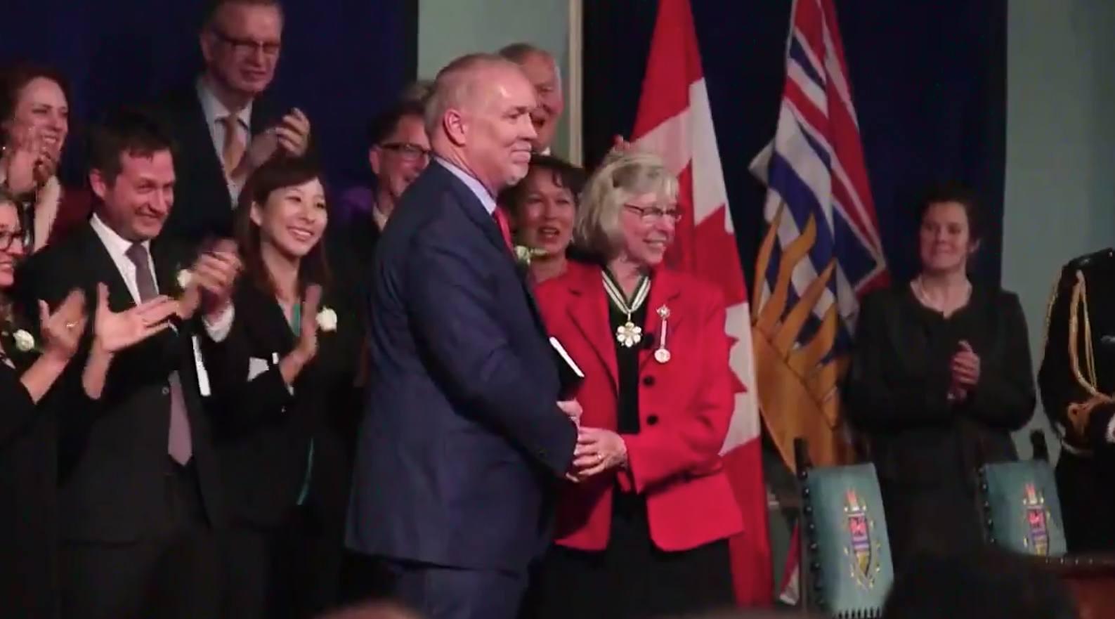 New BC Premier John Horgan being sworn in by Lieutenant Governor Judith Guichon (John Horgan/Facebook)