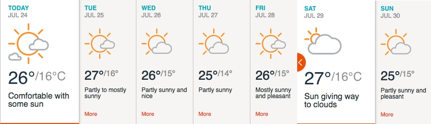 Vancouver weather forecast for week of July 24, 2017 (Accuweather)