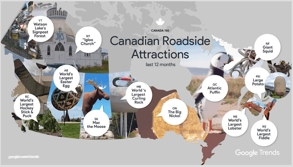 Google releases most searched for Canadian roadside attractions (MAP)
