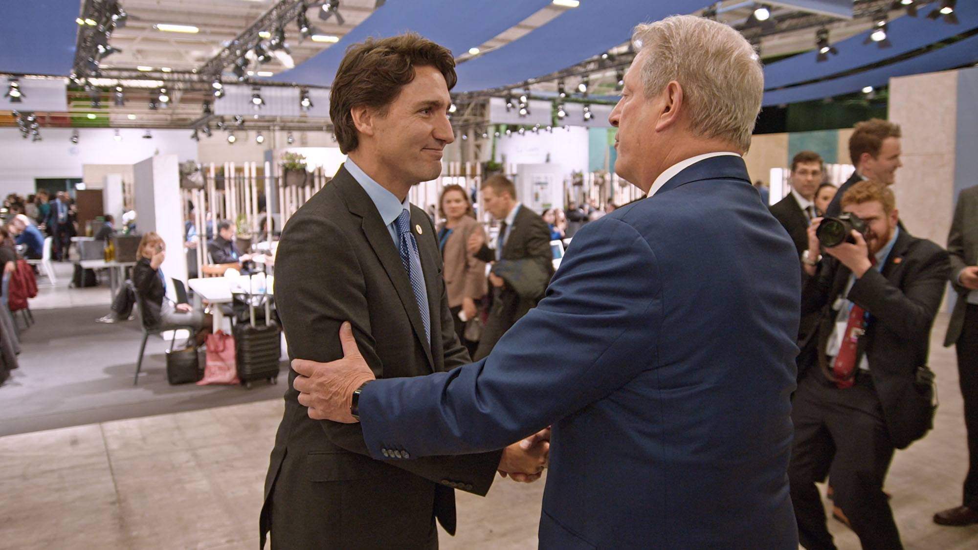 Al Gore with Justin Trudeau at the UN Climate Conference in Paris, as seen in An Inconvenient Sequel: Truth To Power (Paramount Pictures and Participant Media)
