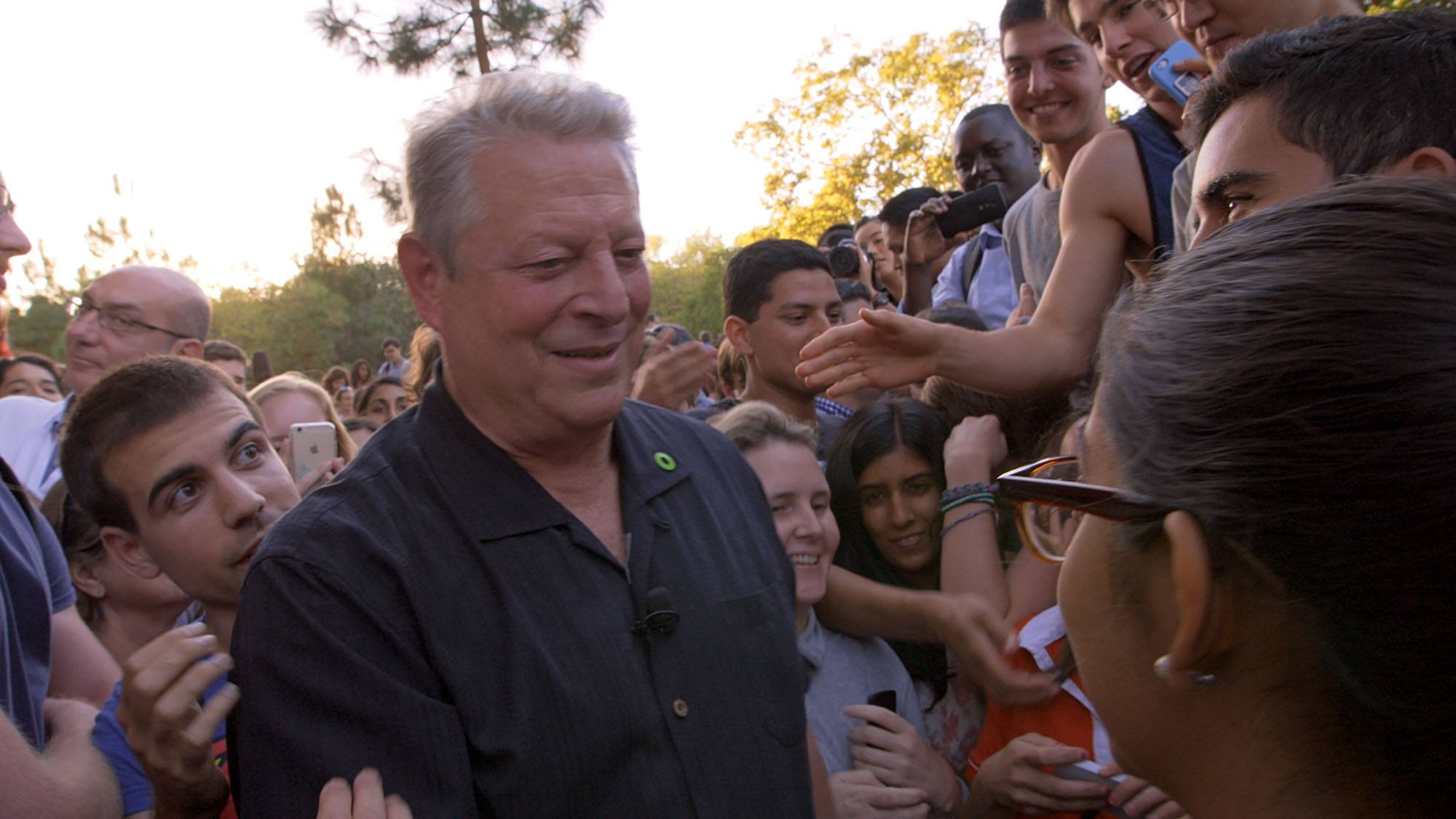 Al Gore attending an environmental rally at Stanford University in An Inconvenient Sequel: Truth To Power (Paramount Pictures and Participant Media)