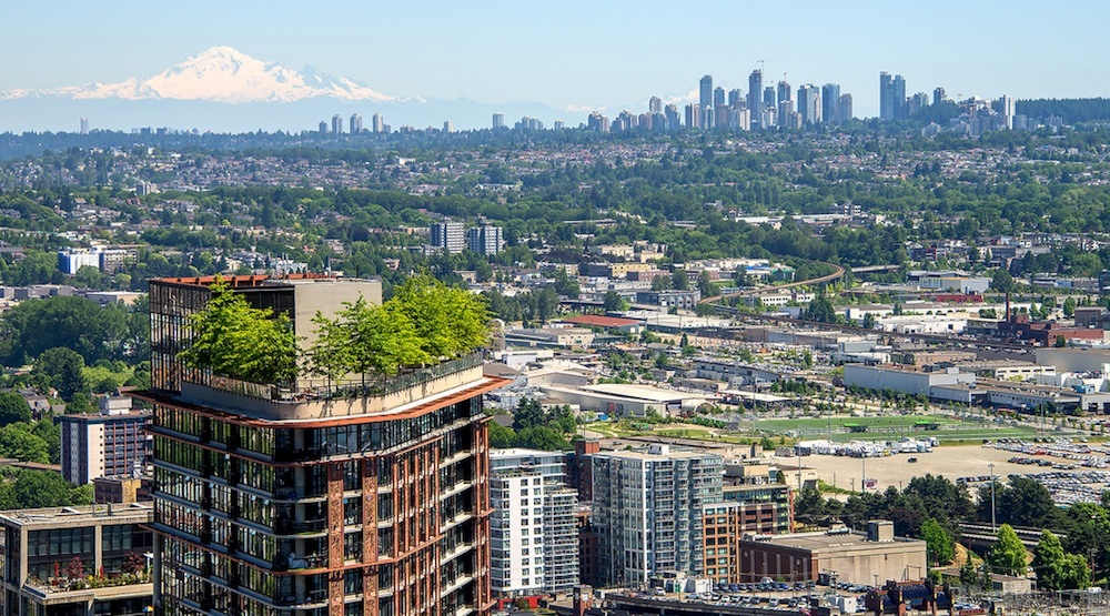 Downtown vancouver burnaby metrotown skyline mount baker