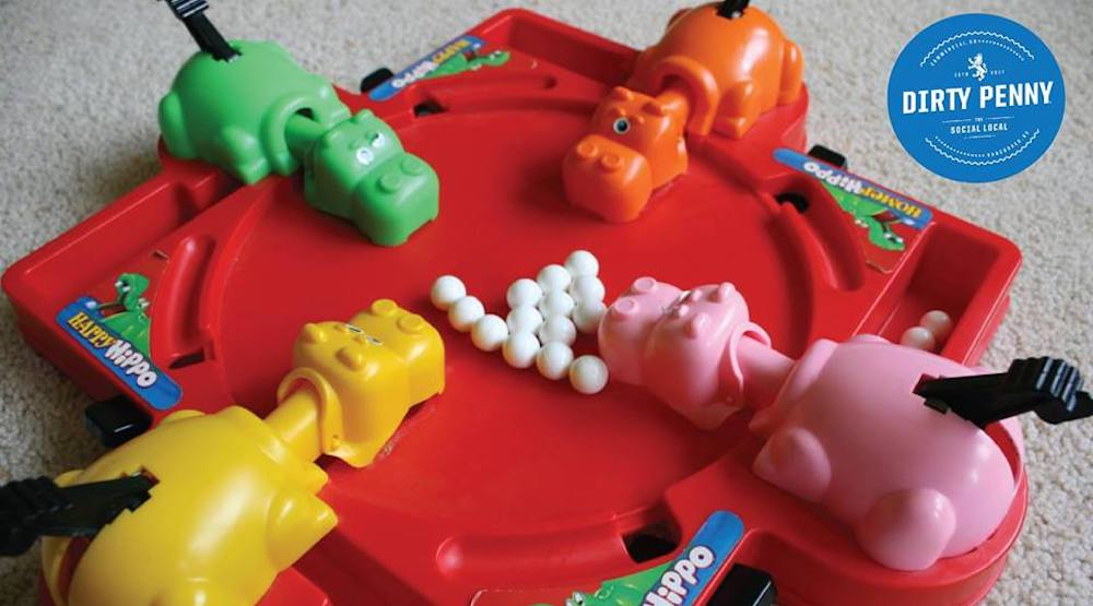 Check out this Hungry Hungry Hippos tournament at the Dirty Penny