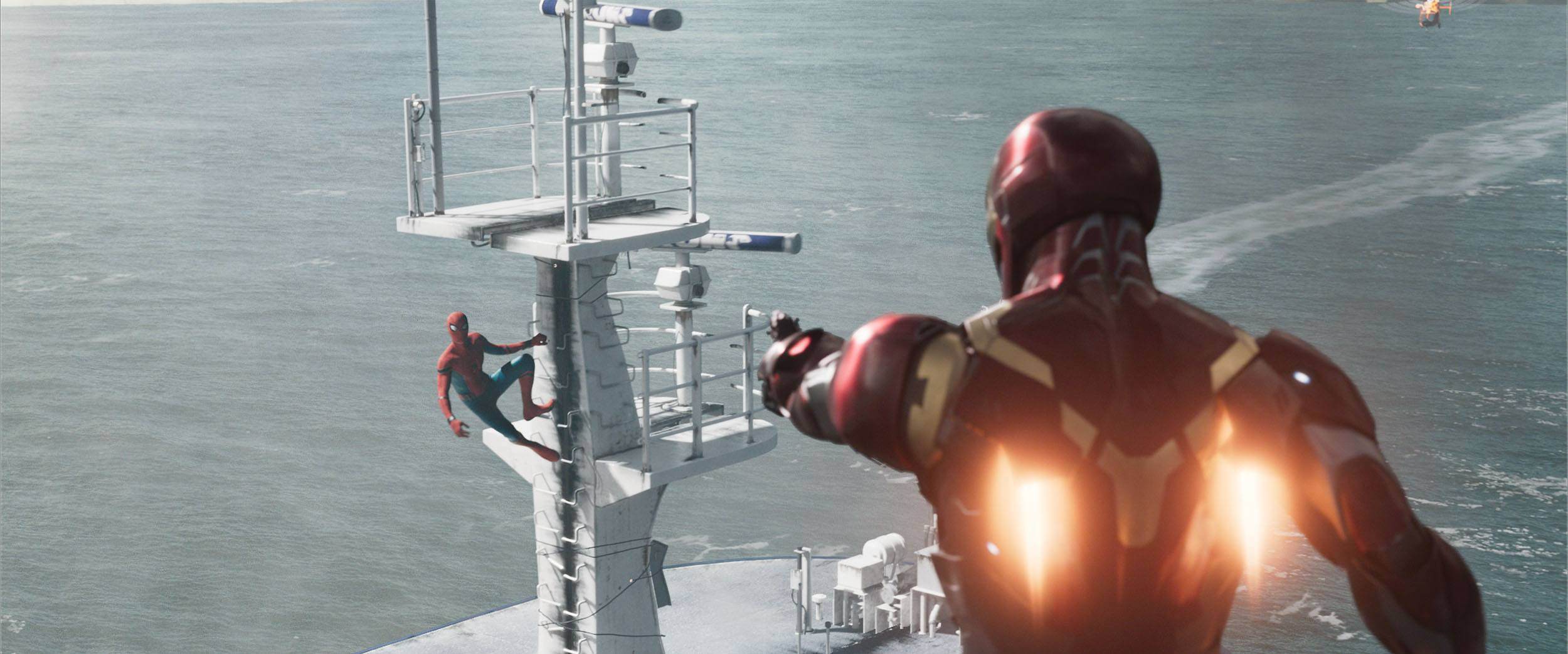 Spider-Man and Iron-Man during the Staten Island Ferry sequence in Spider-Man: Homecoming (Columbia Pictures via Digital Domain)
