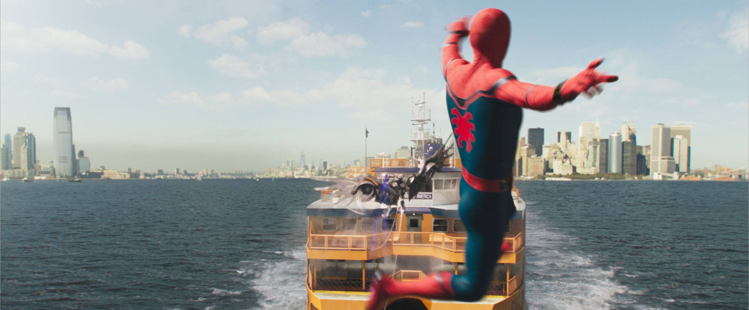 Spider-Man during the Staten Island Ferry sequence in Spider-Man: Homecoming (Columbia Pictures via Digital Domain)