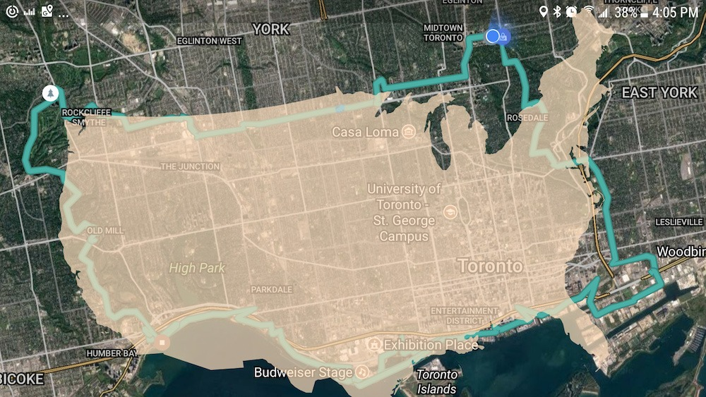 Reddit user bikes around Toronto in the shape of the US