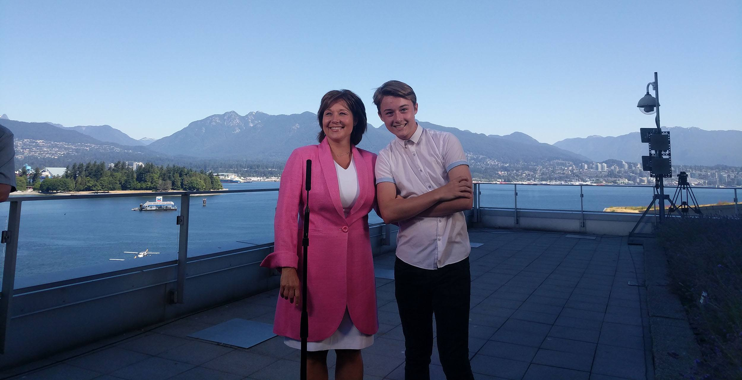 Christy Clark and her son Hamish at her farewell news conference (Jenni Sheppard/Daily Hive)