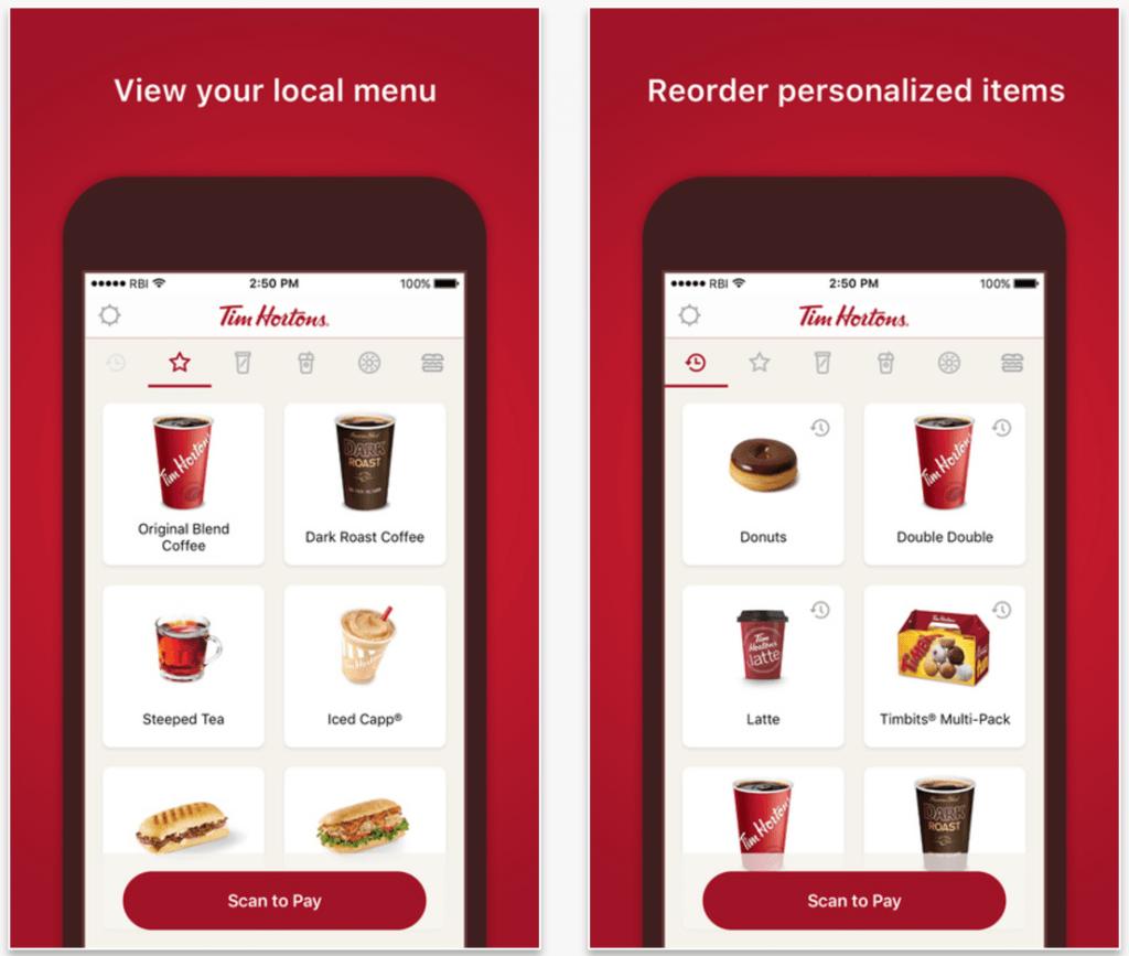 Tim Hortons mobile ordering app
