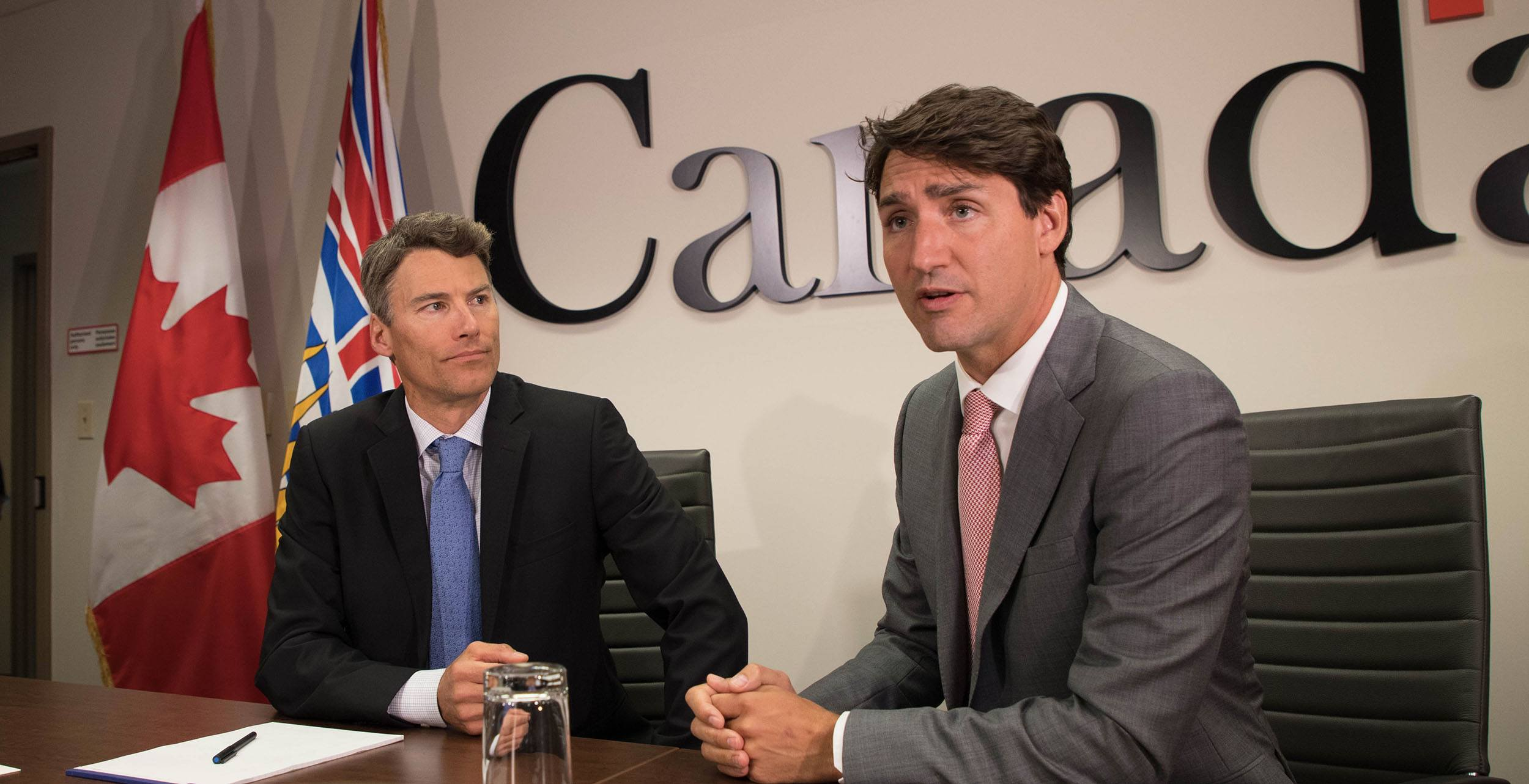 Vancouver Mayor Gregor Robertson with Justin Trudeau in Vancouver on August 1, 2017 (Jenni Sheppard/Daily Hive)