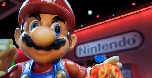 giant Super Mario statue and Nintendo logo at E3 2014, the Expo for video games on June 12, 2014 in Los Angeles