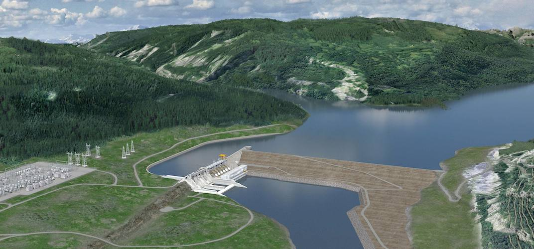 An artistic rendering of the Site C dam on the Peace River in BC. (BC Hydro)