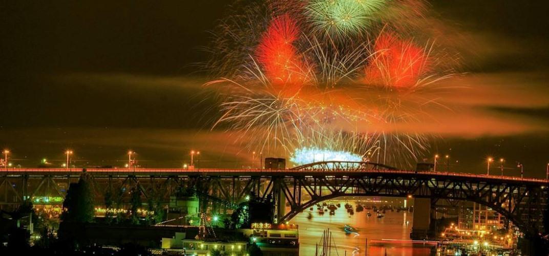 Celebration of light fireworks burrard bridge