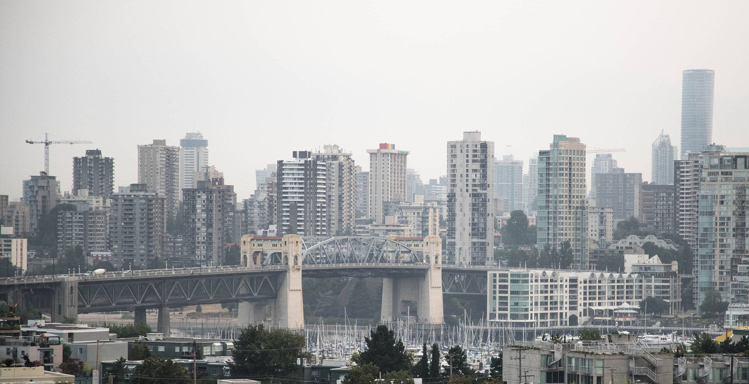 Smoky haze over burrard bridge in vancouver 1