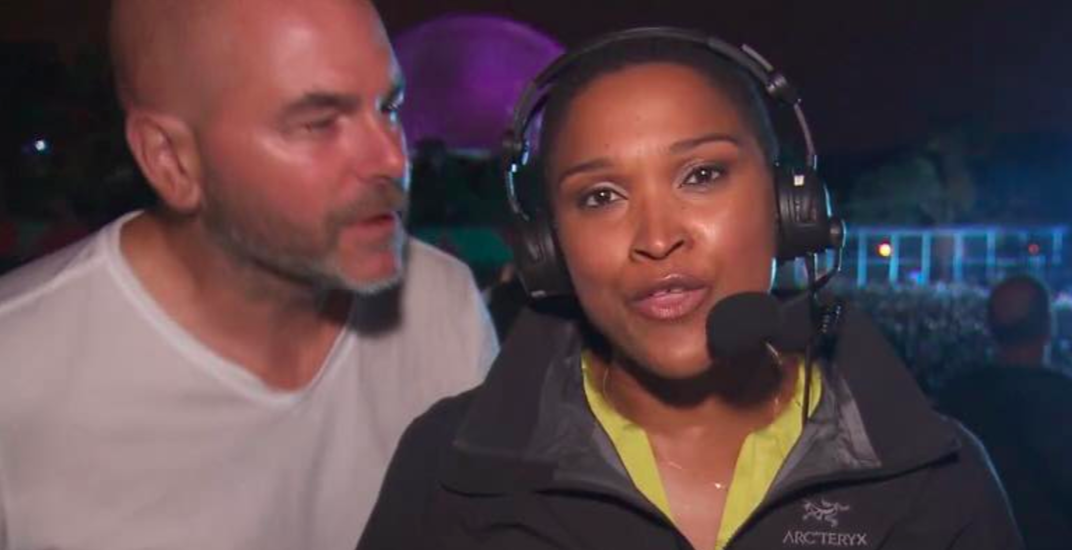 Female reporter inappropriately kissed during live broadcast at Osheaga