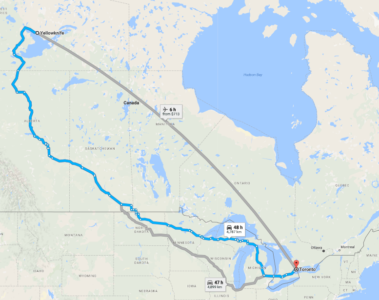 Yellowknife to Toronto