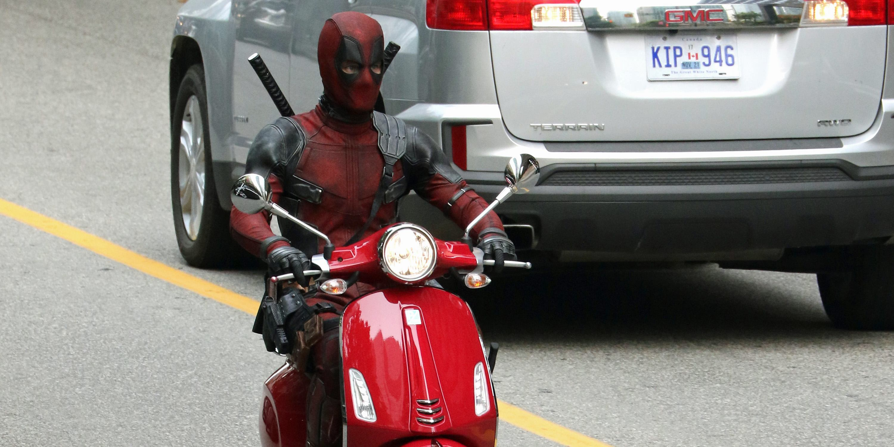 More photos of Ryan Reynolds driving a scooter on the Vancouver set of 'Deadpool 2'