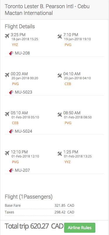 Toronto to the Philippines
