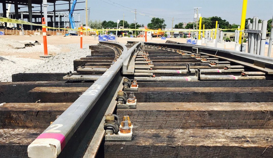 First piece of track laid for the Eglinton Crosstown Light Rail Transit