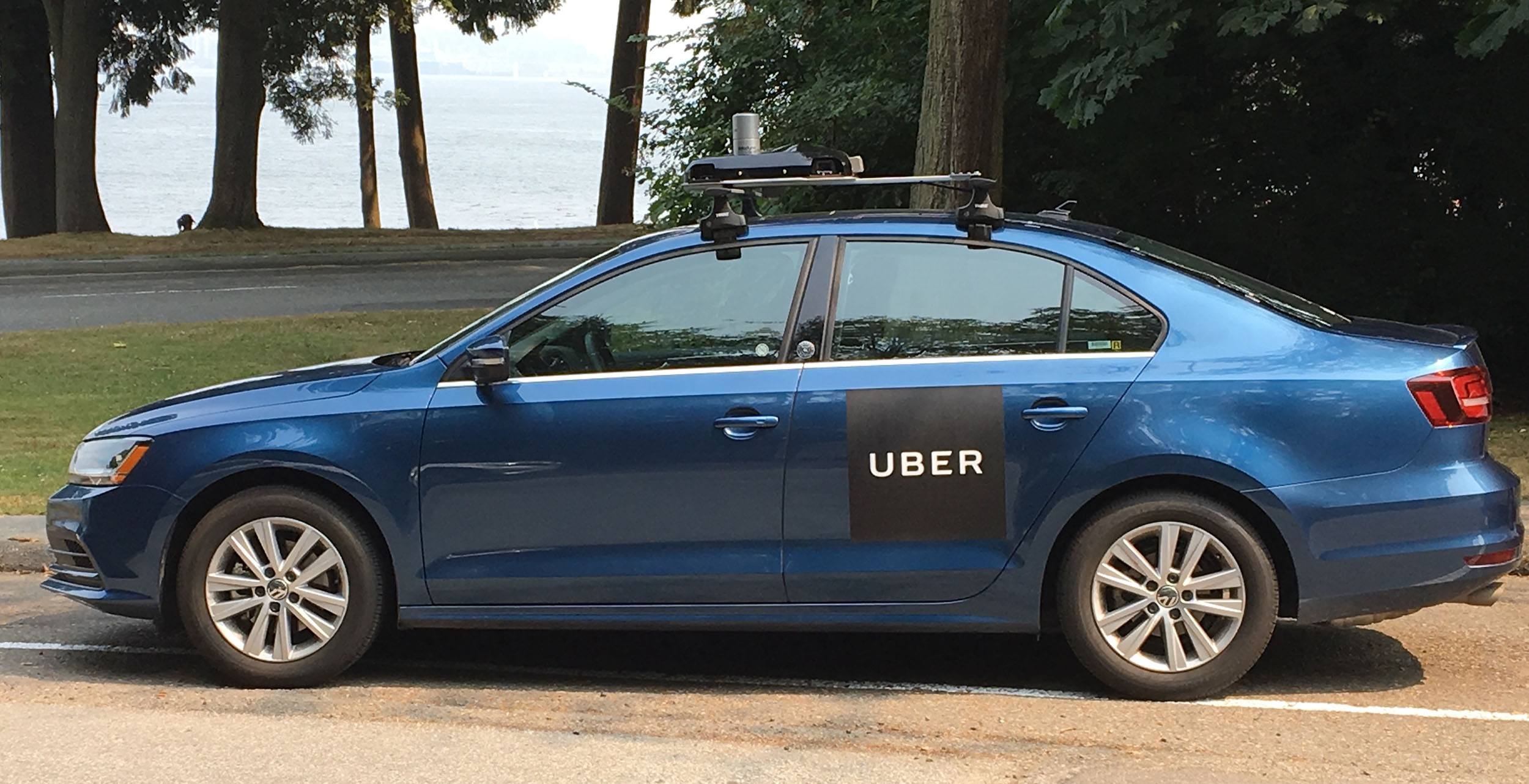 One of ubers enhanced mapping cars in stanley park uber