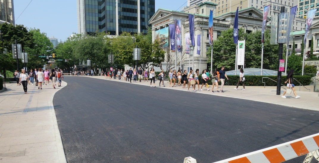 800 Robson Plaza now a single level asphalt surface aligned to sidewalks