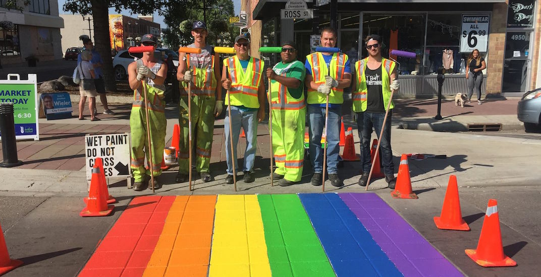 Red Deer gets ready for pride with rainbow crosswalks (PHOTOS)