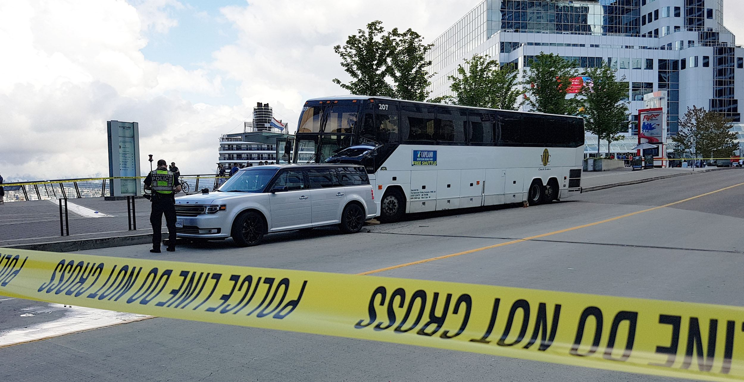 The bus involved in a crash at canada place ken chan daily hive