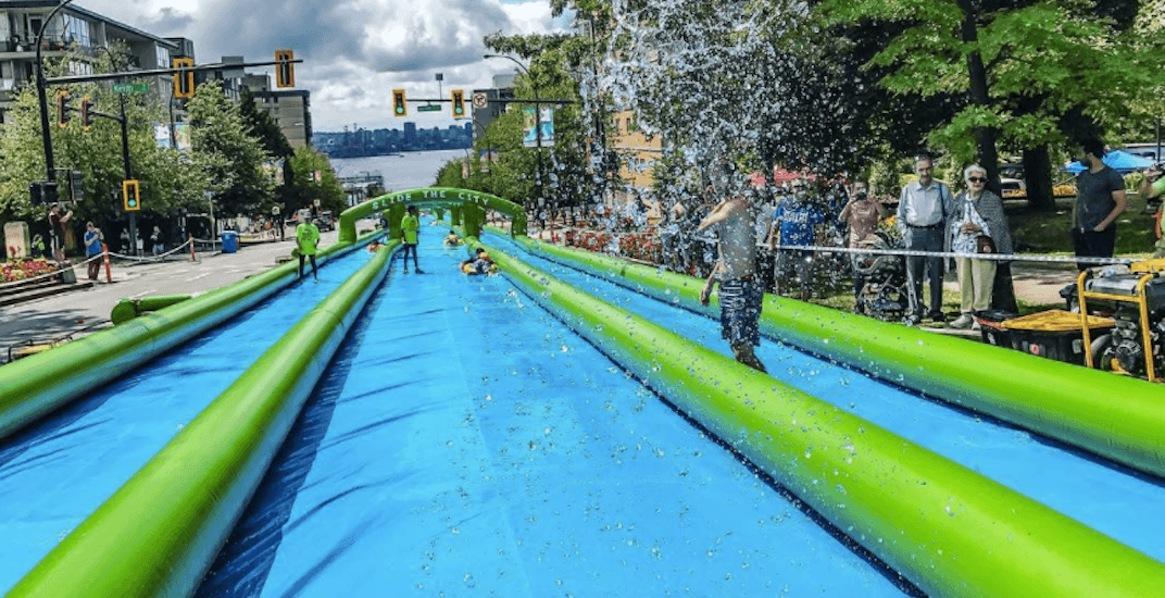 19 photos of Slide The City's 1,000-ft-long water slide in North Vancouver