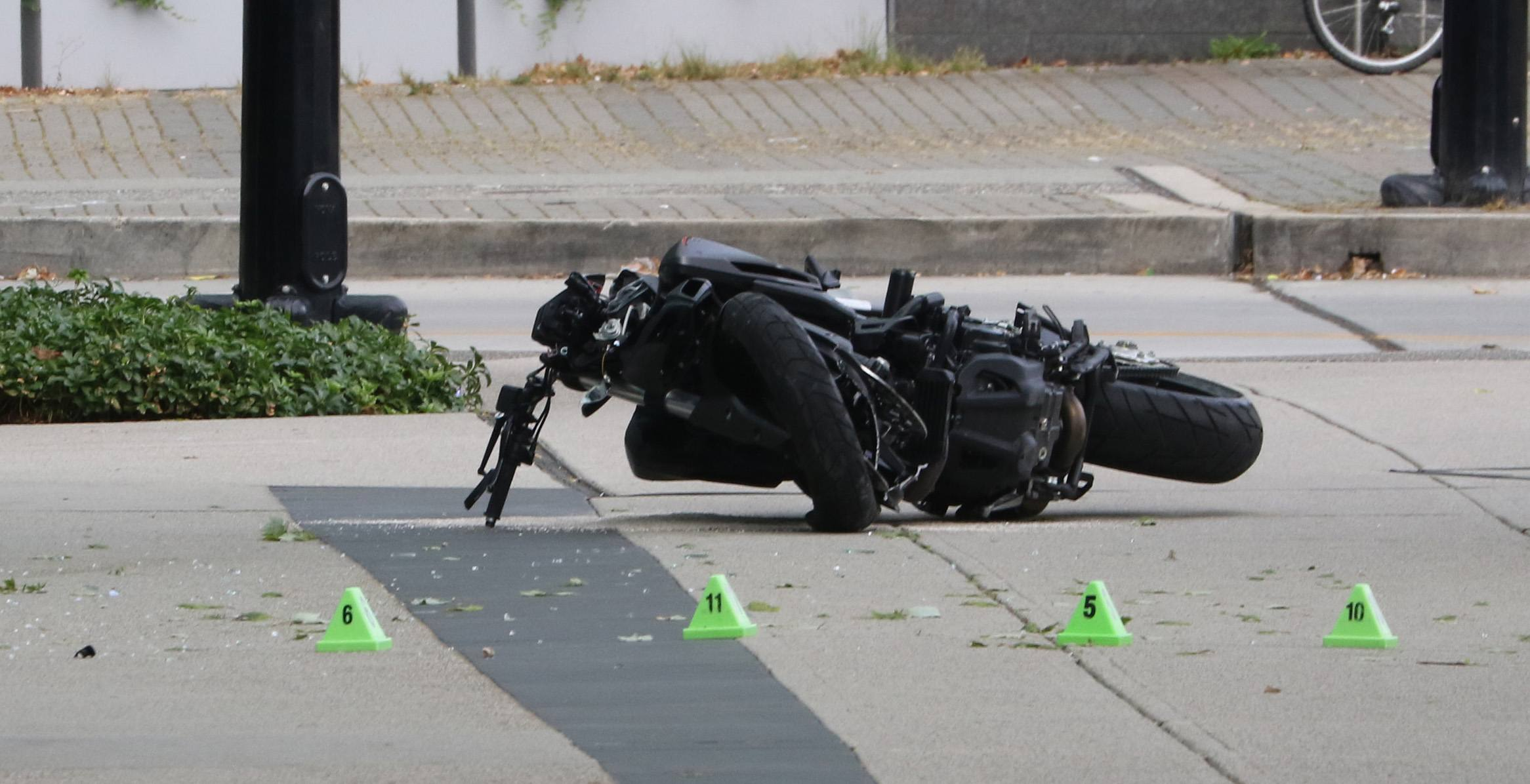 The crashed motorcycle on the set of Deadpool 2 on Monday morning (Daily Hive)