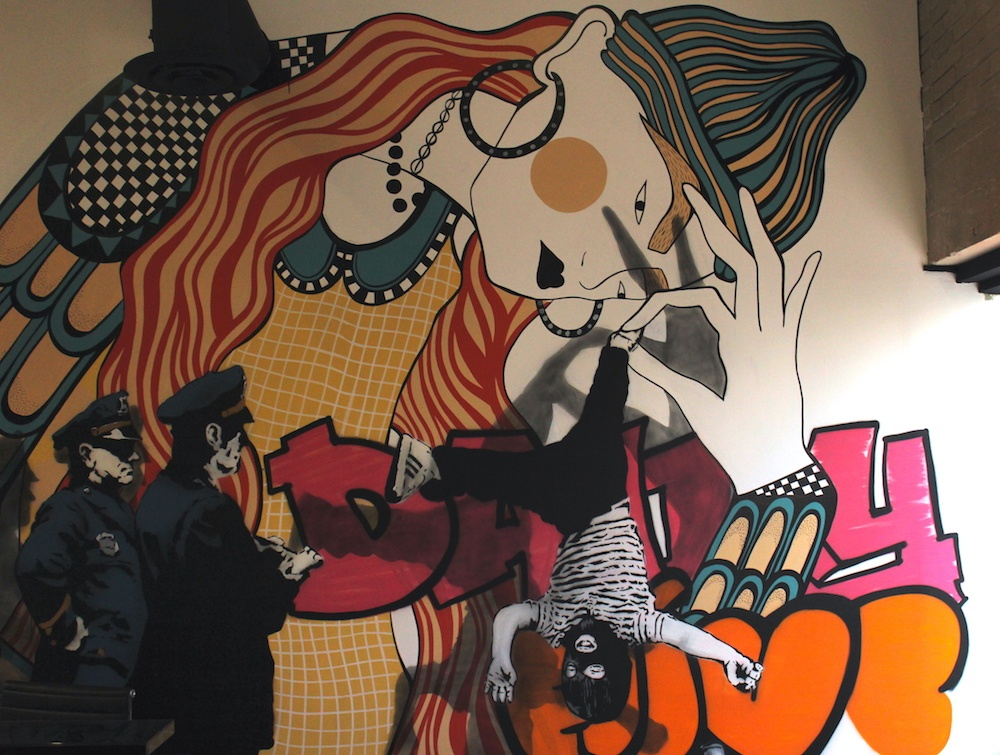 The mural painted at the entrance of Daily Hive's offices (Chandler Walter/Daily Hive)