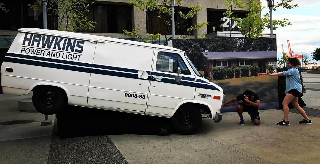 The stranger things hawkins power and light truck in vancouver em fister instagram copy