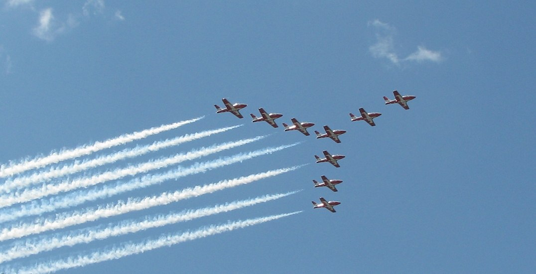 Canadian Forces Snowbirds flying over Edmonton Friday afternoon