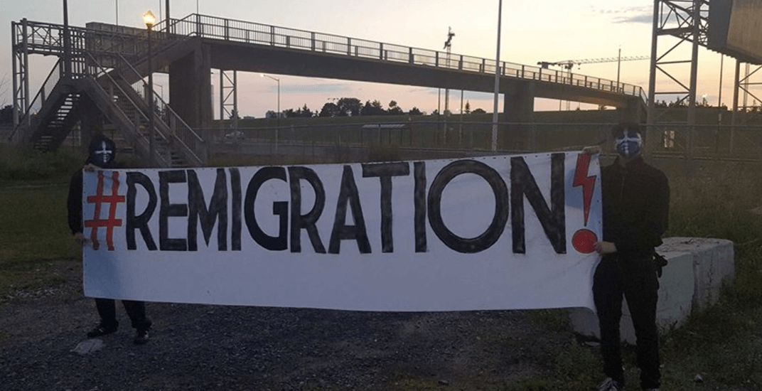 Anti-immigration signs put up by alt-right group appear in Quebec City