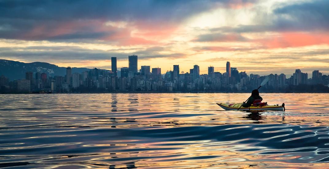 Vancouver skyline english bay burrard inlet kayak