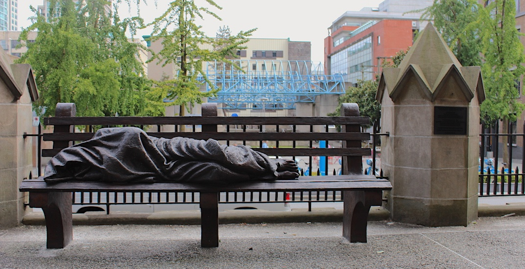 'Homeless Jesus' sculpture can be found at Holy Rosary Cathedral in Vancouver