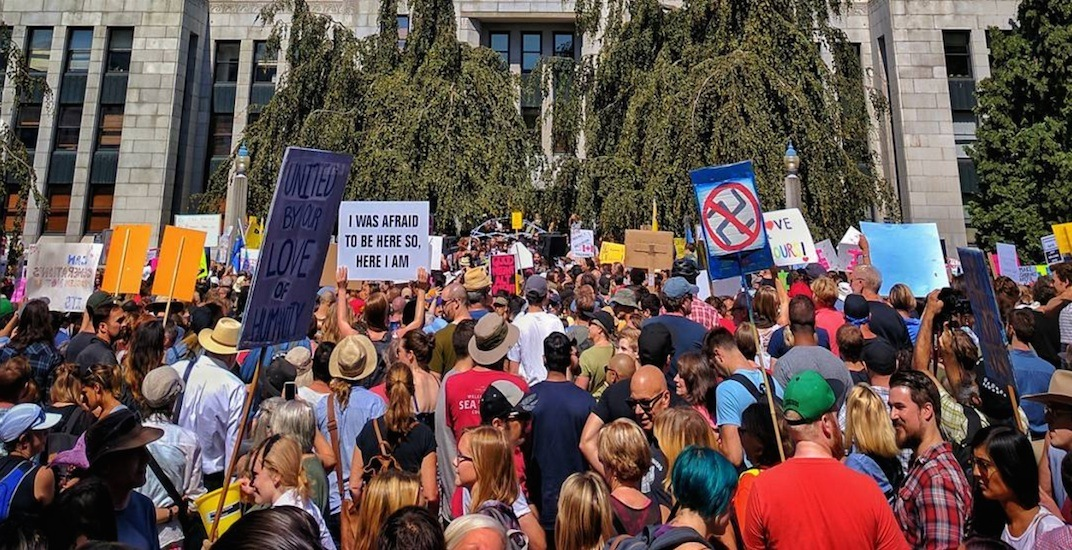 Over 4,000 people attend counter rally against racism at Vancouver City Hall