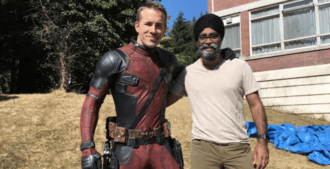 Defence Minister Harjit Sajjan meets Ryan Reynolds on set of Deadpool 2
