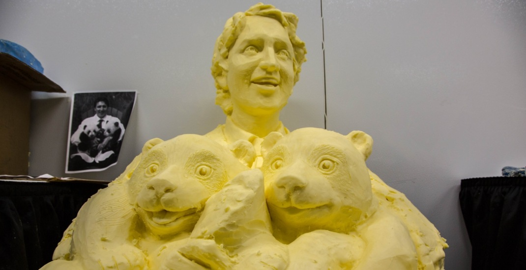 A butter sculpture of Justin Trudeau at the CNE is going viral