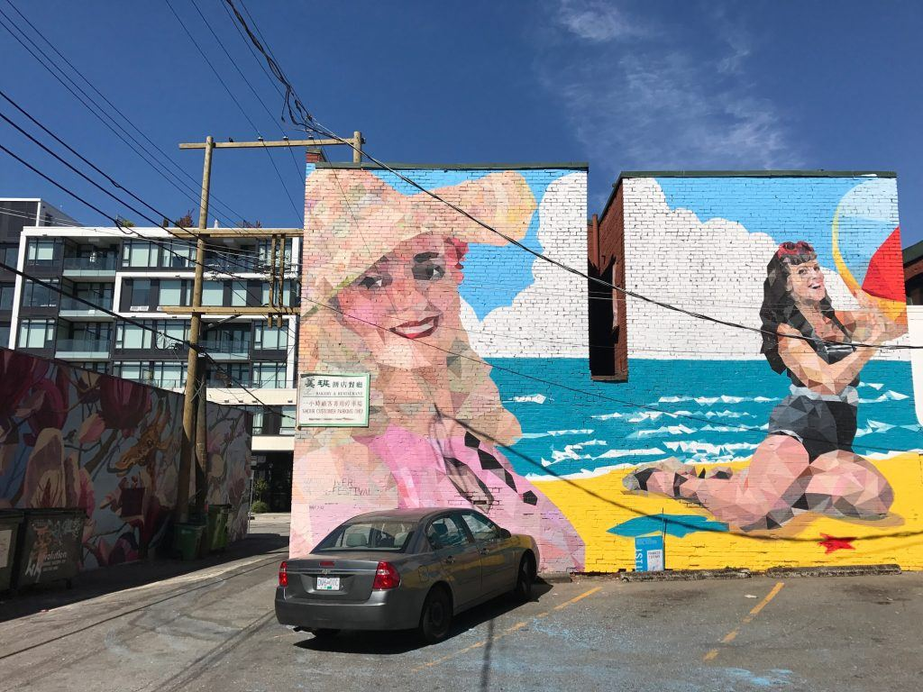 Beach babes mural in Vancouver