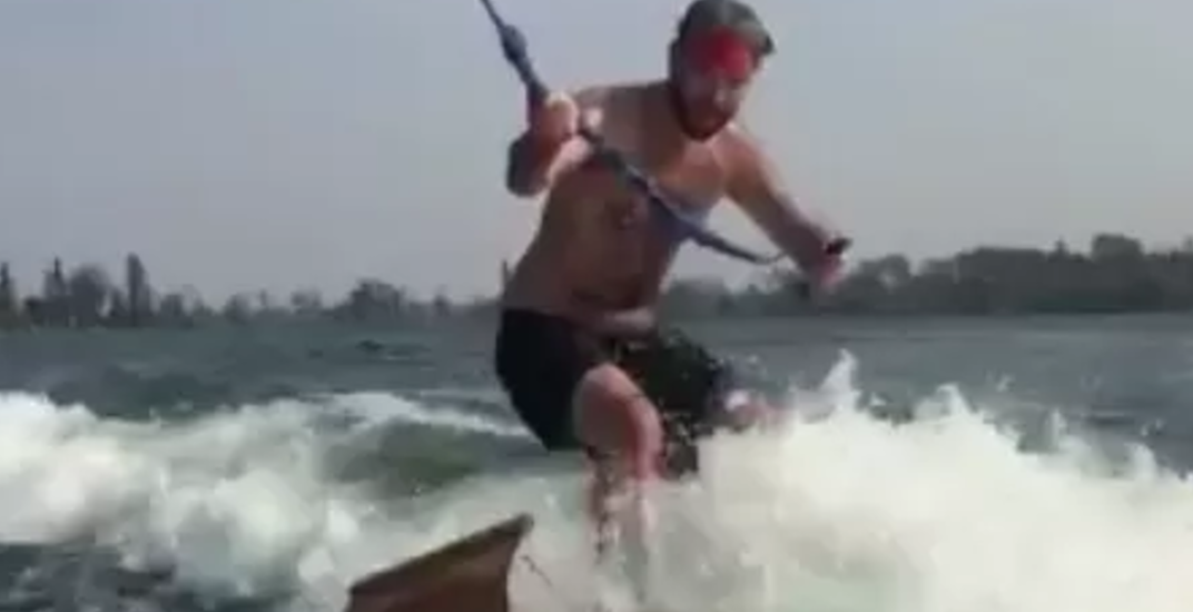 Guy wakeboards on toboggan, reaches peak summer in Canada (VIDEO)