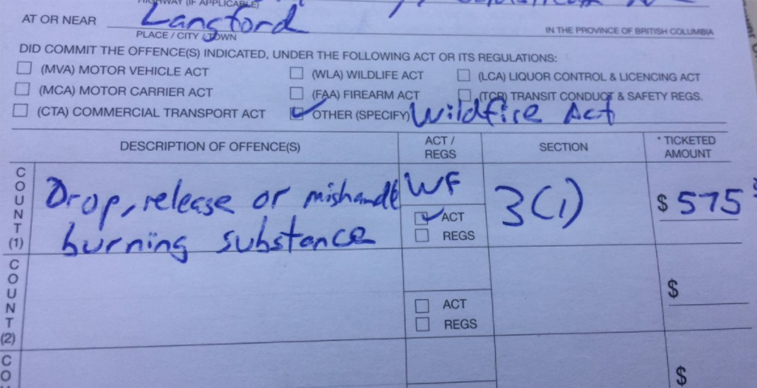 BC driver tosses cigarette from car, calls fine for doing so, 'insane'