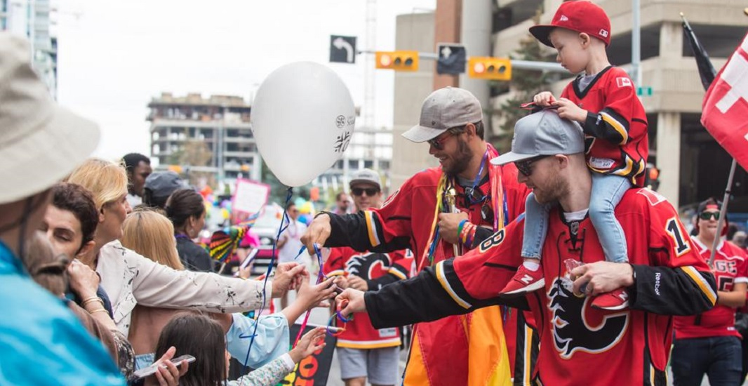Flames players march in Calgary Pride Parade (PHOTOS)