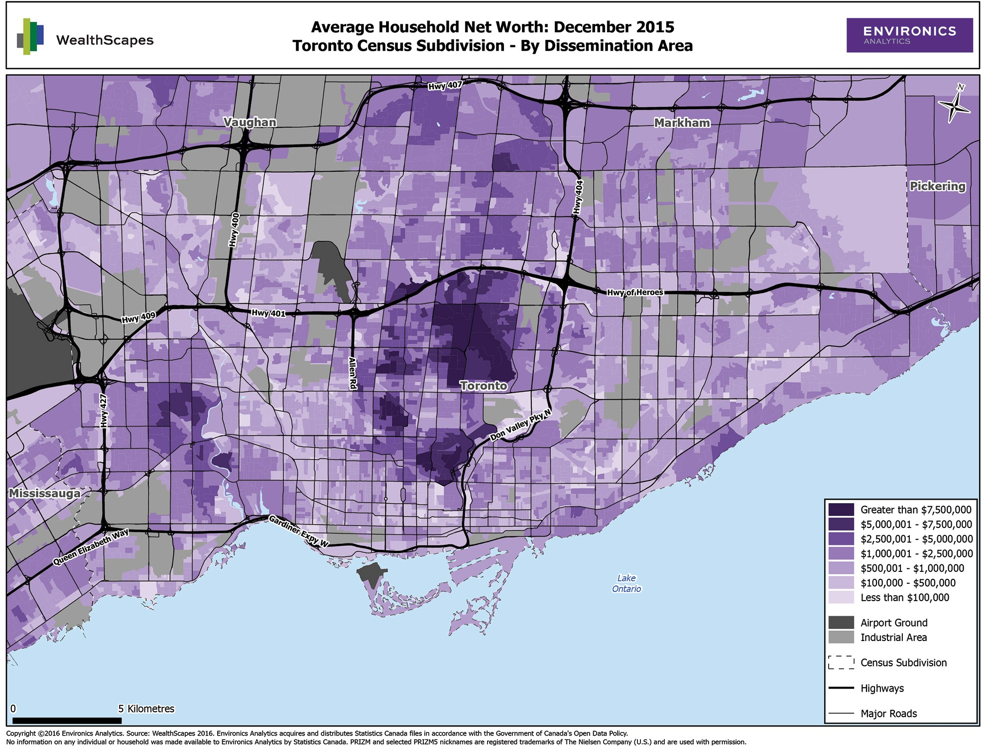 Map of Average Household Net Worth in Toronto Census Subdivision (Environics Analytics)