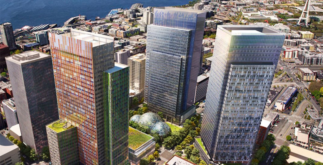 Artistic rendering of the new Amazon campus buildings in downtown Seattle. (Amazon)