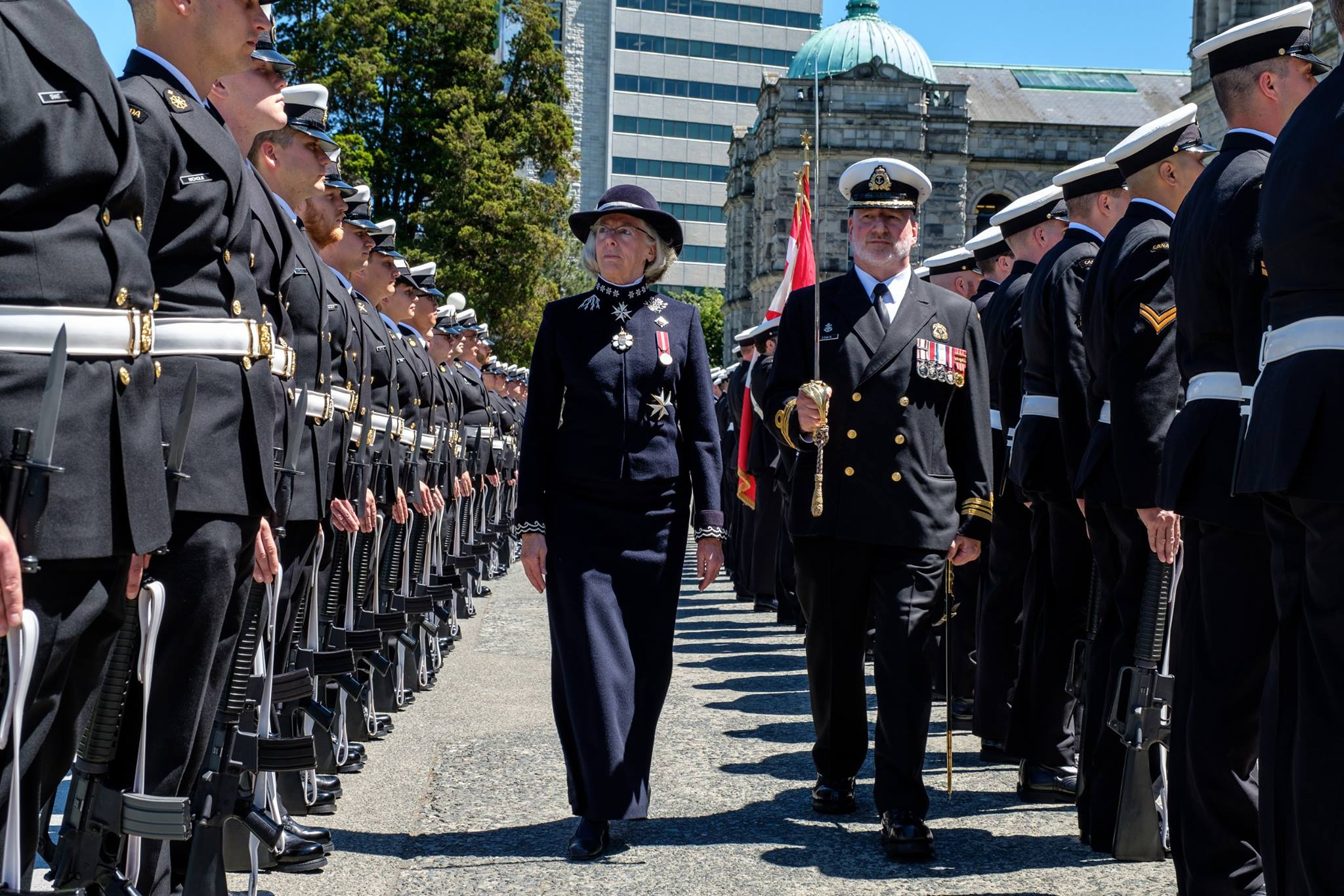 Lt.-Gov. Judith Guichon inspecting troops before the speech from the throne (The Honourable Judith Guichon, Lieutenant Governor of British Columbia/Facebook)
