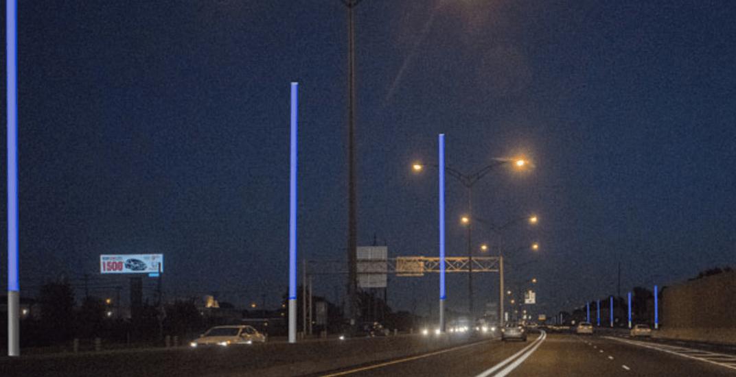 Highway 20 lights up with 8 kilometre-long blue art installation (VIDEO)