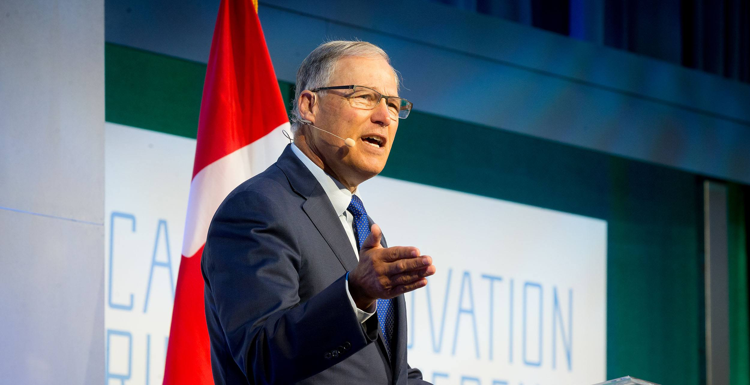Washington governor jay inslee speaking at the cascadia innovation corridor conference 2017 we worldwide