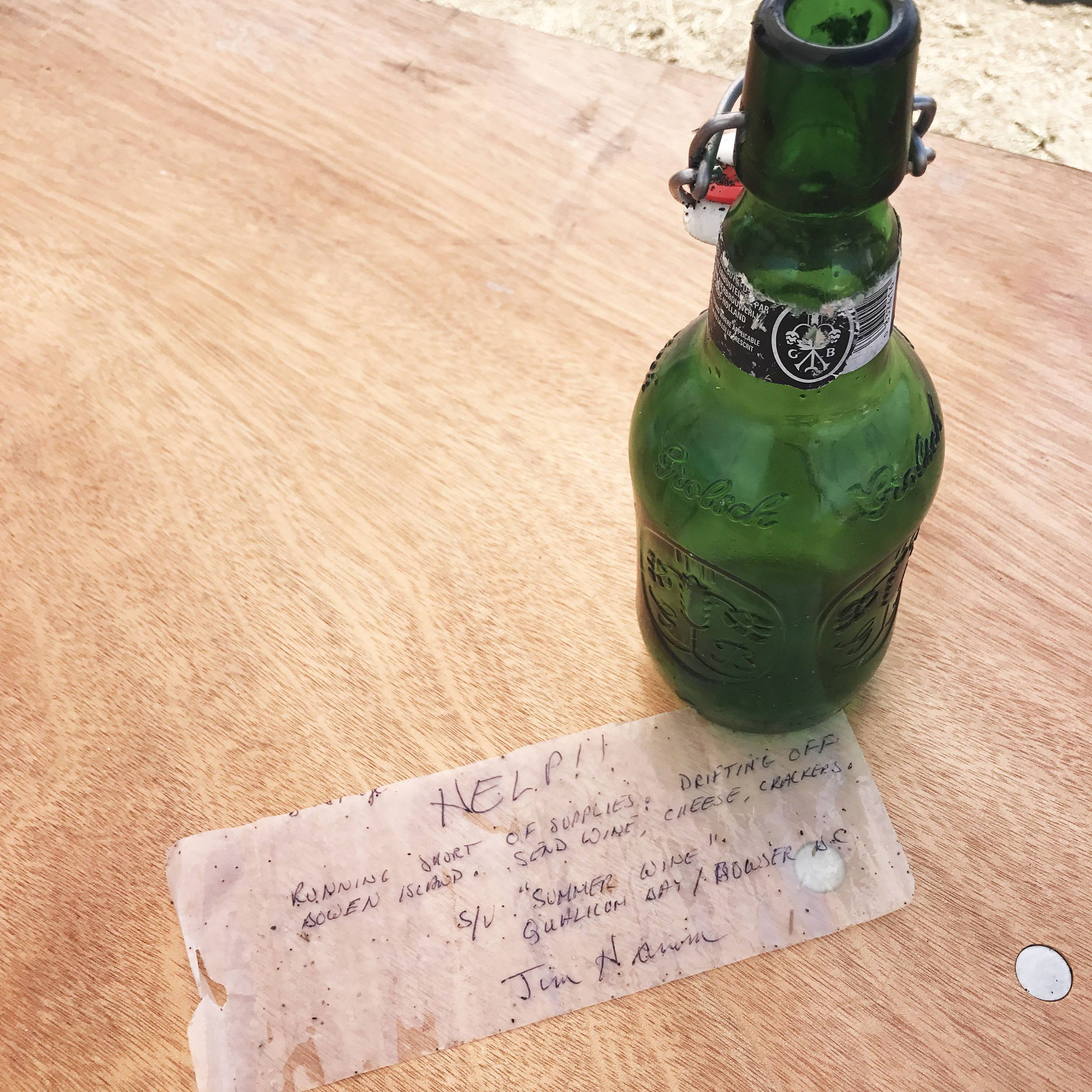 The message in a bottle found at Iona Beach during a shoreline cleanup (Ocean Wise)