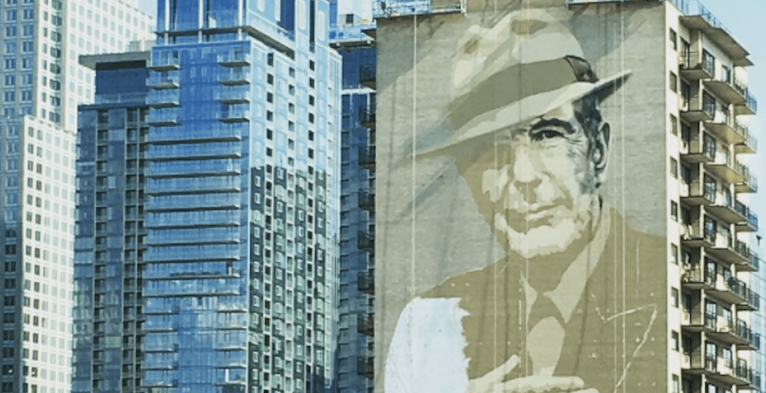 Montreal 39 s new 20 storey leonard cohen mural is almost for Mural leonard cohen