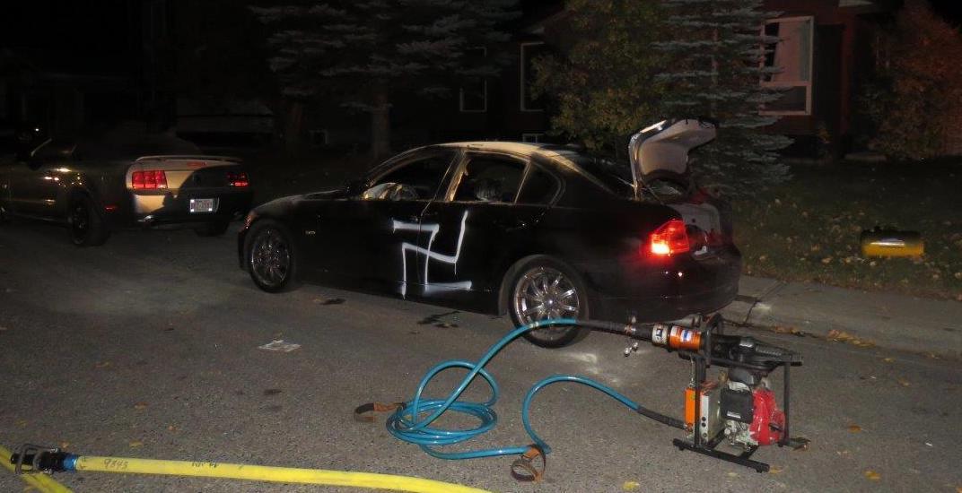 Calgary vehicle vandalized, marked with 'White Power' and swastika